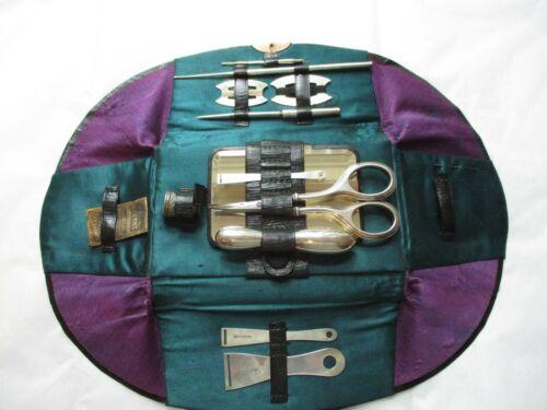 Antique,STERLING, Sewing Kit,Case,Bodkin,Crochet Hook, Awl,Scissors,Thimble +