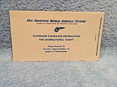 1950's PAN AMERICAN PASSENGER CLEARANCE INFORMATION FOR INTERNATIONAL FLIGHT