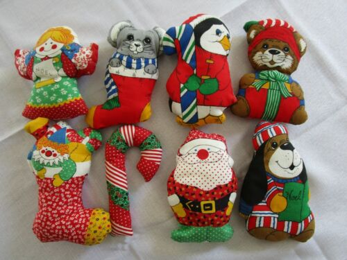 Vintage Handmade Christmas Plush Ornaments Set of 8 Holiday Bowl Fillers Mix Lot