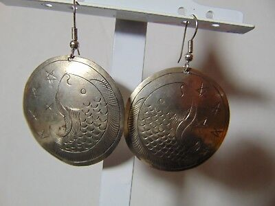 STERLING SILVER ROUND EARRINGS WITH A FISH AND STARS,