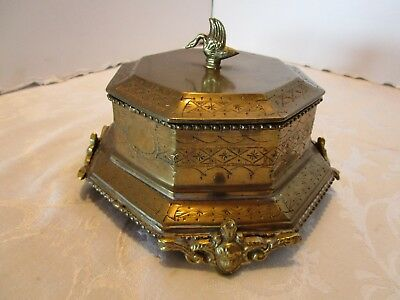 "BRASS octagonal box casket 7½""W footed cherubs swan DECORATIVE CRAFTS INC. VTG. - Decor Craft Inc"