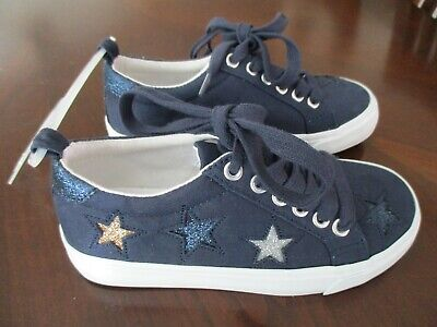 Old Navy Girls Navy Blue Canvas Glitter Stars Sneakers Casual Shoes - Blue Sparkle Shoes