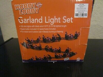 150 PURPLE GARLAND MINI LIGHTS 9 FT LIGHTED LENGTH BLACK WIRE NIB