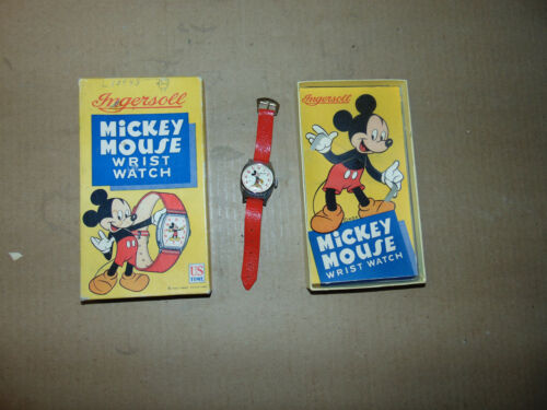 Old Ingersoll Mickey Mouse Wrist Watch With Original Box
