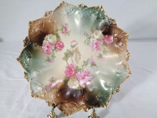 vintage MZ Austria Scalloped Plate with Roses.