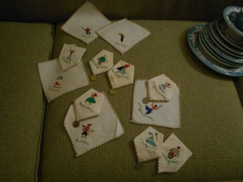 Vintage Embroidered 12 Napkins Uruguay Argentina Brazil Chile With Hanging Coins
