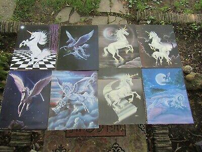 Vintage Unicorn Print Lot 8 Examples 80s Fantasy Ferraro Sue Dawe 8x10 Great Con