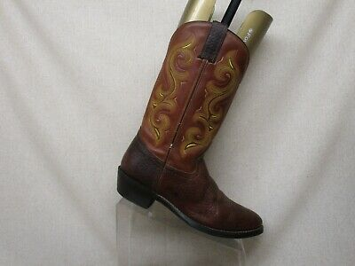 Double H Brown Leather Bullhide Cowboy Western Boots Mens Size 8 D Style 227834