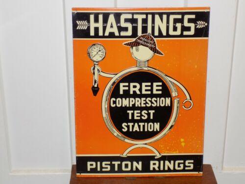 Vintage Hastings Piston Rings Embossed Metal Sign