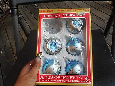 Vintage Lot of 5 Blue & Silver Dented Glass Christmas Bulbs