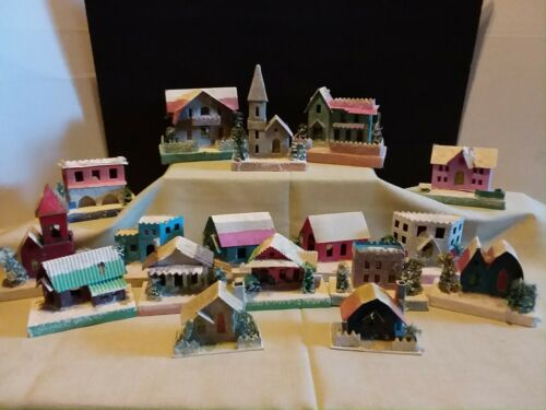 Huge Lot /17 - Vintage Putz Cardboard Christmas Village Houses Glitter Japan
