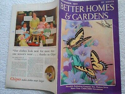 BETTER HOMES & GARDENS Magazine-SEPTEMBER,1933-ARTHUR BADE COVER