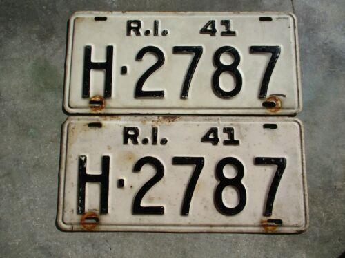 Rhode Island 1941 license plate pair #   H - 2787