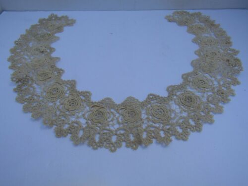 Antique Victorian Hand Made Tatted/Crocheted Lace Ivory Roses Open Collar
