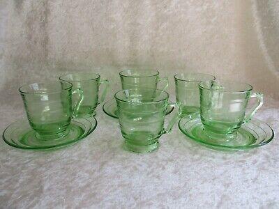 3 Vintage Vaseline Green Depression Demitasse Cup & Saucer-Ridged/Ringed Pattern