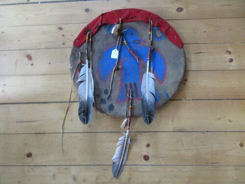 """NATIVE AMERICAN CEREMONIAL LEATHER SHIELD, 20"""" PAINTED """"GHOST DANCE"""" , SD-04177"""