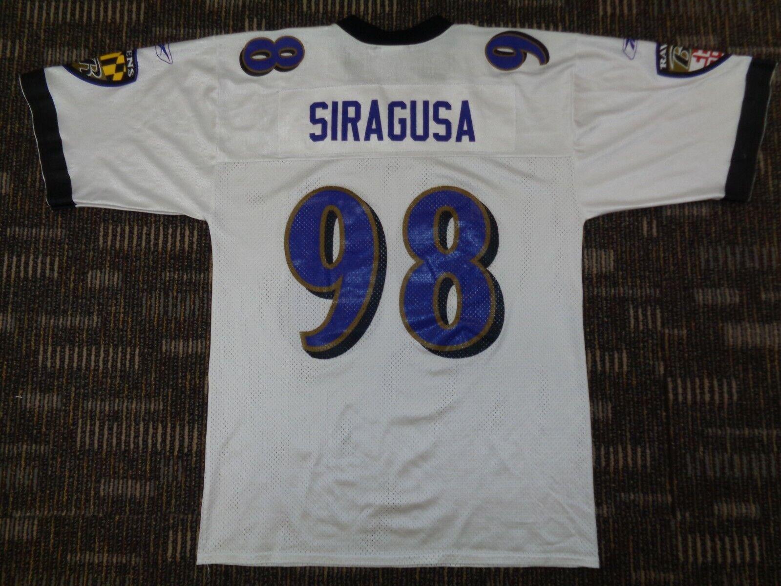 TONY SIRAGUSA 98 BALTIMORE RAVENS REEBOK WHITE NFL GAME FOOTBALL JERSEY SZ MED  - $49.99