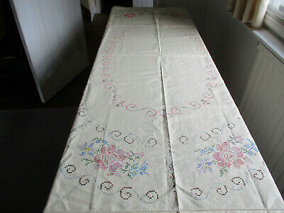VINTAGE CREAM LINEN TABLECLOTH CROSS STITCH HAND EMBROIDERY  132 x 175 Cms