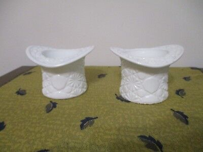 Pair of Vintage Milk Glass Top Hat Daisy and Button Vases/Planters, used for sale  Fort Atkinson