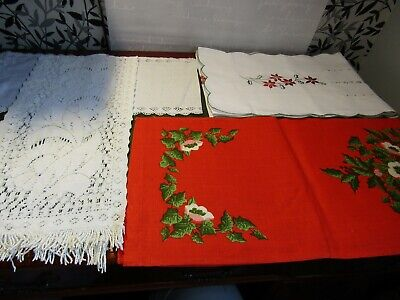 Lot 1. 4 Vintage Table Runners, 2 Christmas & 2 Everyday Use