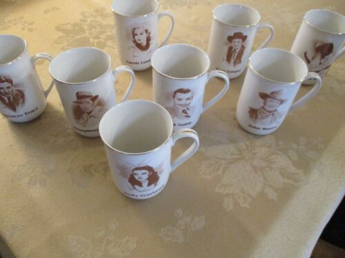 HOLLYWOOD HALL OF FAME MUSEUM MUGS (LOT OF 8) VERY GOOD COND GOLD RIM