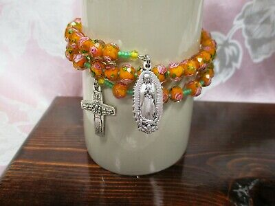 Rosary Wrap Bracelet - 8 x 6 mm Orange with Roses Lampwork Faceted Glass Beads
