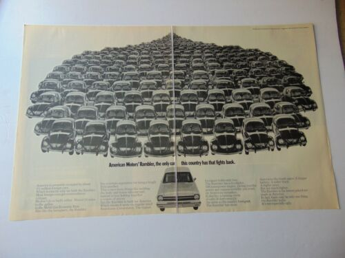 1968 Only AMC RAMBLER Fights Back Against A Lot of VOLKSWAGENS art print ad