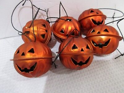 Halloween Pumpkin Orange Mini Bell Tree Ornaments Decorations Set of 6