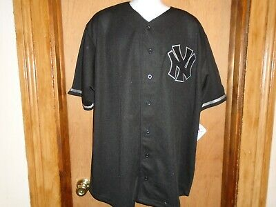 New York Yankees MLB Genuine Merchandise Black Full Button Men's 2XL 3XL Jersey  ()