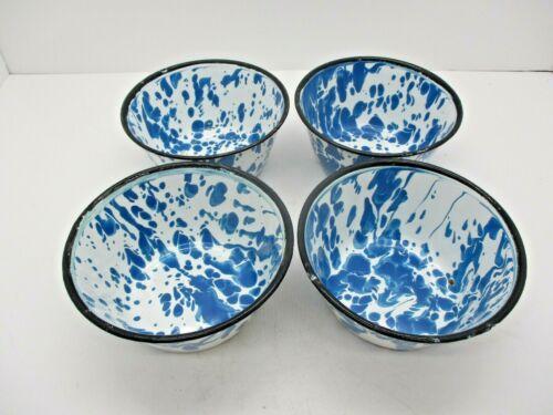 4 Vintage Blue and White Enamelware Splatter Ware Bowls