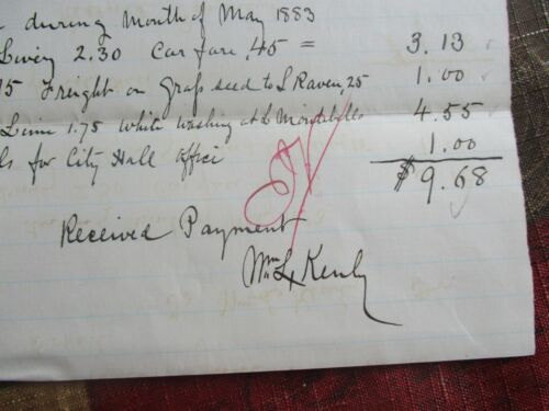 1883 Wm. L. Kenly (WW1 Major General)EARLY Baltimore handwritten signed document