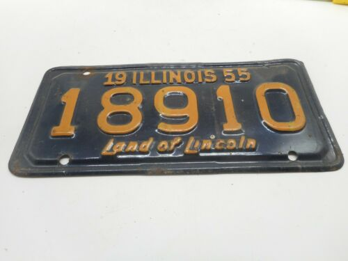 Vintage 1955 ILLINOIS IL MOTORCYCLE MC  License Plate Tag Topper Permit