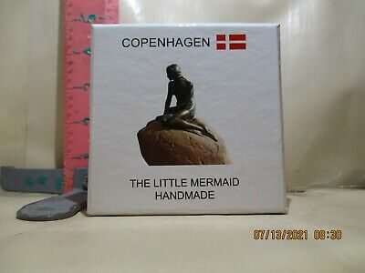 COPENHAGEN SOUVENIR , LITTLE MERMAID , HANDMADE BRONZE ON ROCK - IN CASE!
