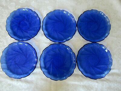 Arcoroc France Cobalt Blue Set of 6 Swirl Lunch Salad Vintage Glass Plates Cobalt Blue Luncheon Plate