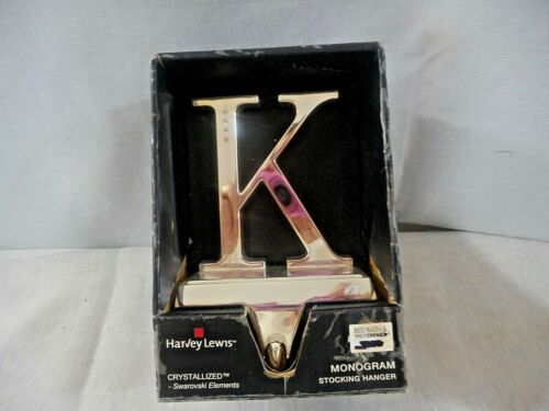 "Stocking Hanger Initial ""K"" Silver Color Swarovski Crystals Christmas"