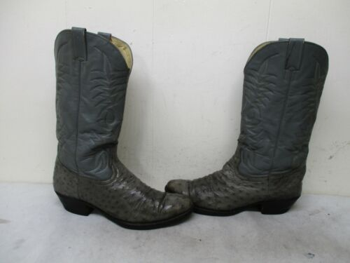 Gray, Full, Quill, Ostrich, Leather, Cowboy, Boots, Mens, Size, 6.5, D