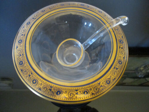 Antique Elegant Glass Hand Painted Gold Gilt Band Cobalt Blue Mayonnaise Bowl!