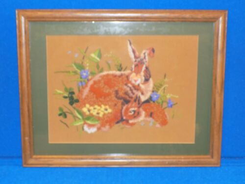 Framed Embroidery Rabbit Bunny Vintage Yarn Needlework Needlepoint Brown Crewel