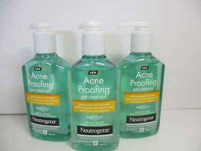3 NEUTROGENA ACNE PROOFING GEL CLEANSER 6 OZ EACH EXP: 7/20 JL 5080