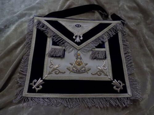 Masonic Past Master Silver Bullion Apron w/Square Fringe Satin Pocket NEW!