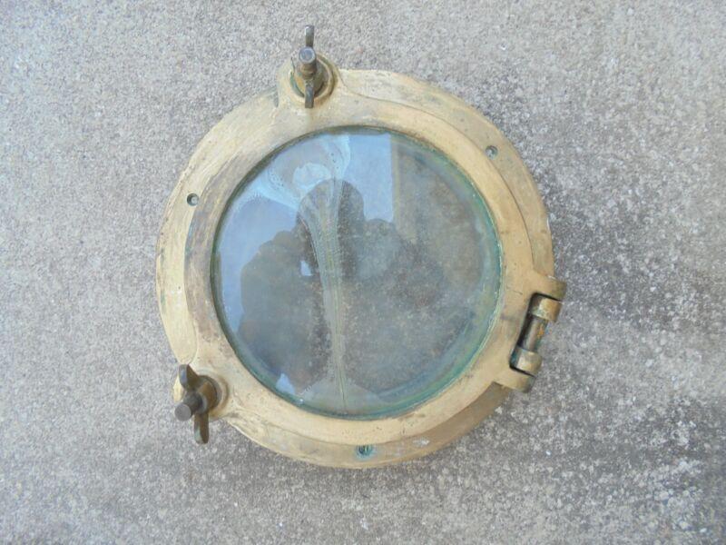 "10"" OD INCH BRONZE PORTHOLE PORT SHIP BOAT BRASS MAN CAVE CRACKED GLASS"