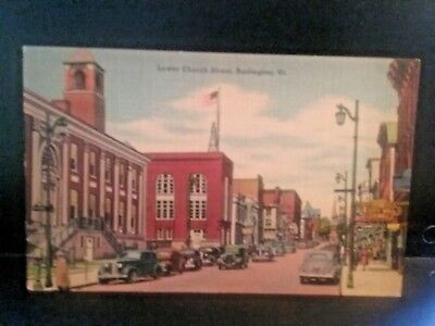 Postcard Lower Church Street, Burlington, VT   Z5 (Church Street Burlington)