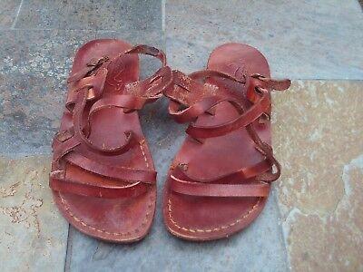Ladies / womens brown leather Jerusalem sandals - size 38