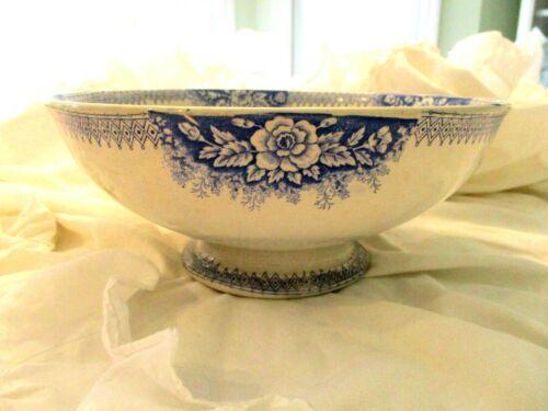 SAINT-AMAND Antique French Blue Transferware Ironstone Pedestal Bowl JARDINIERE