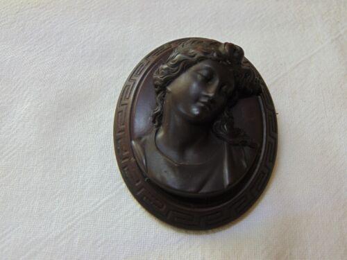 Antique Gutta Percha Victorian Mourning Vulcanite Cameo Brooch Woman Greek Key