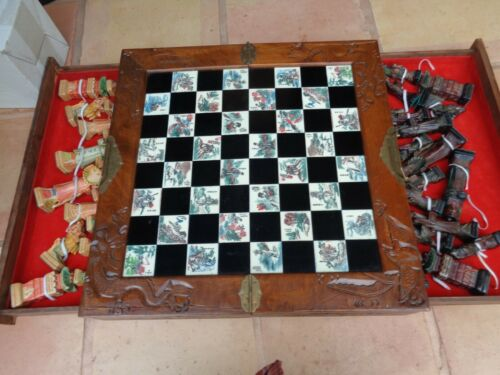 Antique Asian Chinese Chess set Rare  Hand Carved Wood Chest Ornate Artwork L@@k