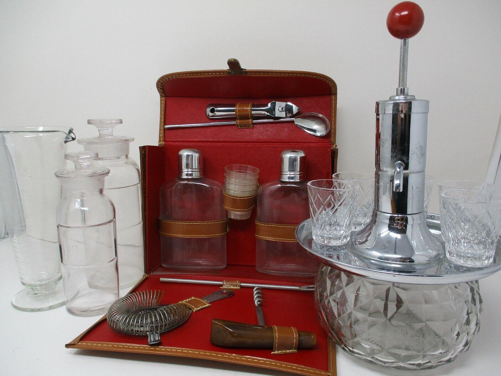 Vintage Barware Lot~ Dispenser Shotglass Decanters Travel Set And More