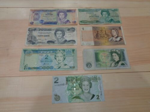 Lot of 7 Mix of Foreign Banknotes Circulated World Currency With Queen Elizabeth