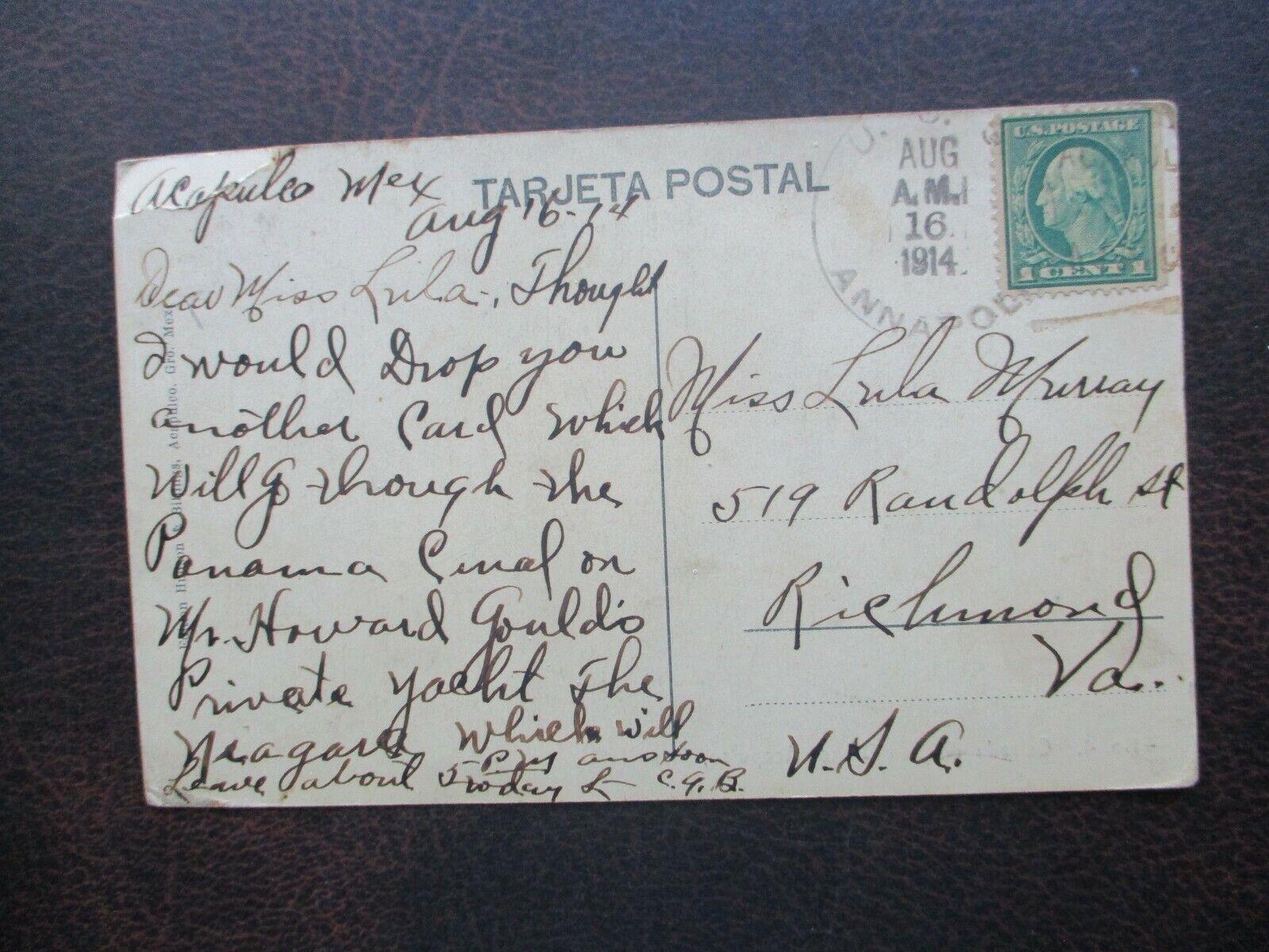 1914 Carried On Howard Gould son Of Jay Gould Racing Yacht Niagara Postcard  - $49.99