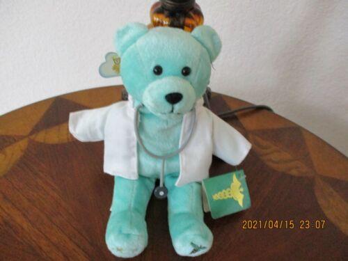 "NWT 2007 HOLY BEARS ""DOCTOR"" AQUA COLOR 9"" BEANBAG BEAR FREE SHIPPING"